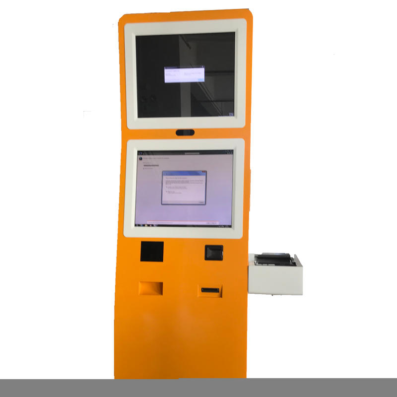 Touchscreen self service hotel check in kiosk with card reader