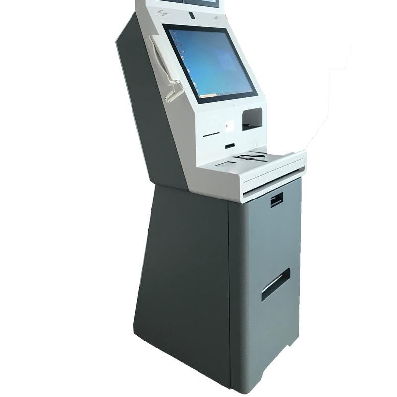 19 inch touch screen card dispenser automation self hotel check in kiosk