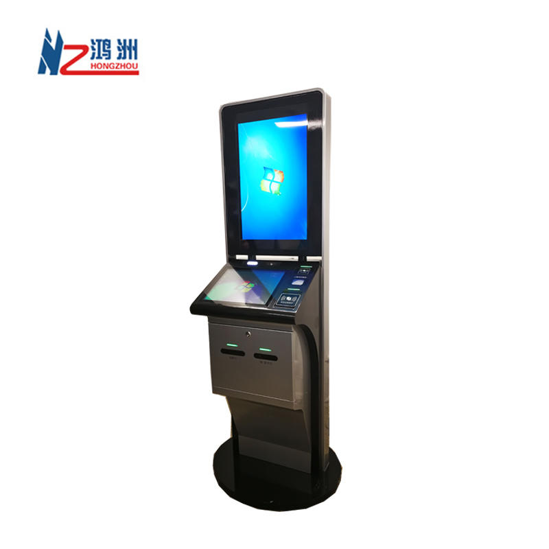 Free stand big touch screen LED self service kiosk with cash receiver barcode scanner