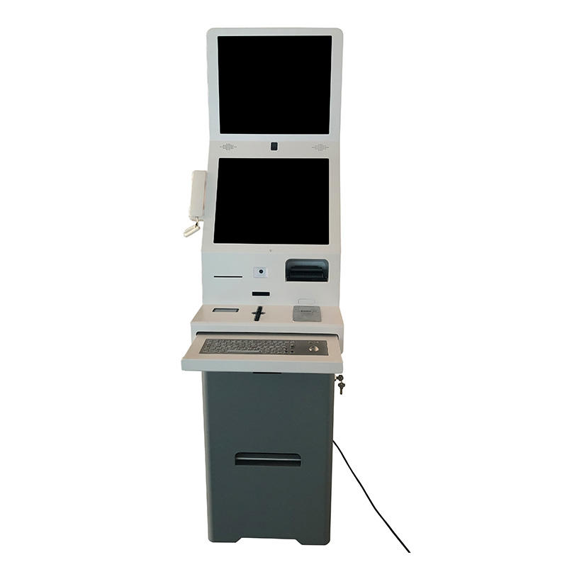 Free Standing Self Service Machine Interactive Hotel Check In QR reader Kiosk