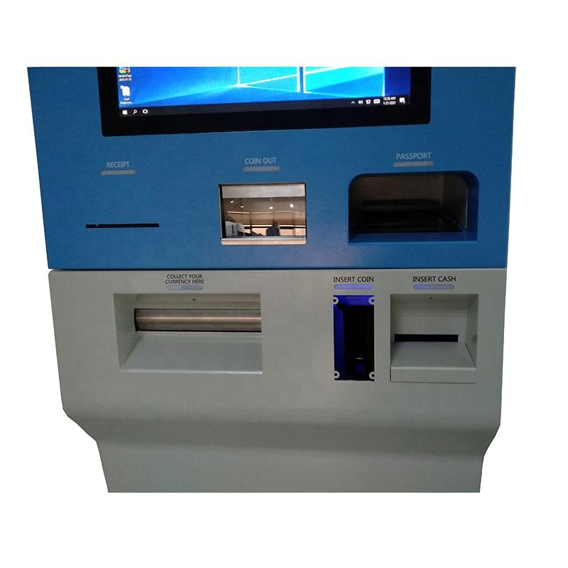 easy operation foreign currency exchange kiosk with customizable screen