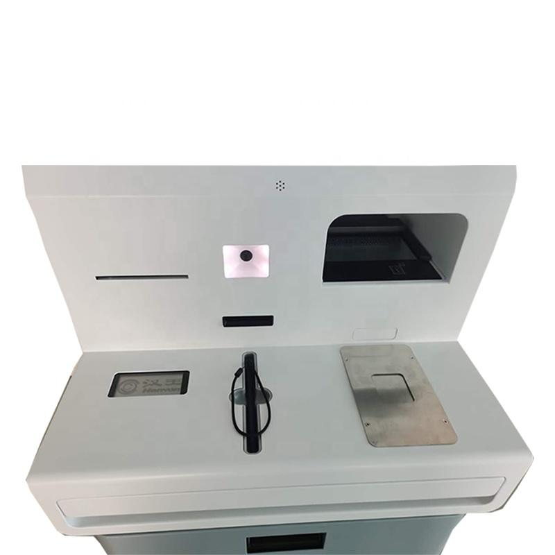 Dual screen self service check-in kiosk in hotel with passport scanner payment