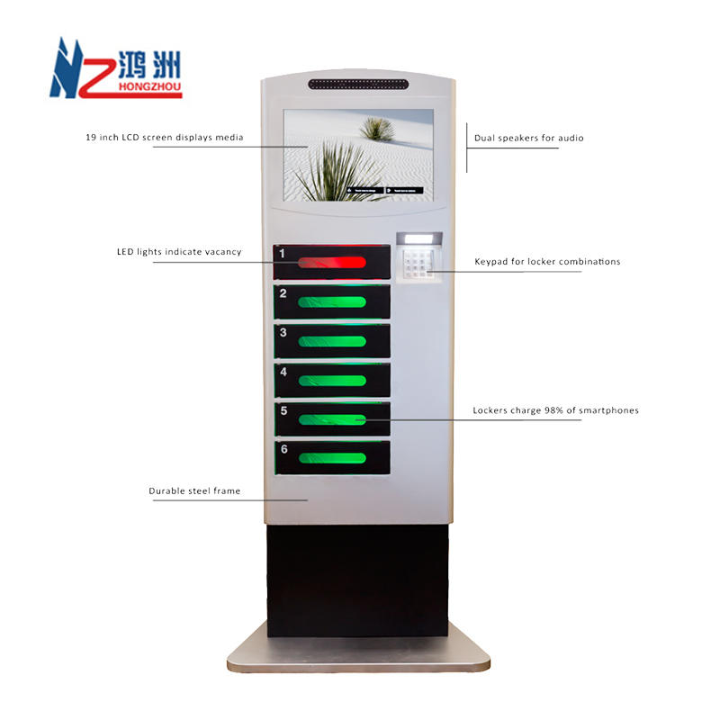 Touch screen self service cell phone charging kiosk