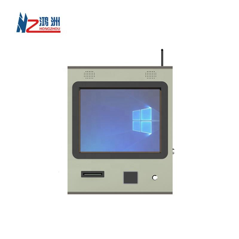 wall mounted cashless payment kiosk with printer and barcode scanner