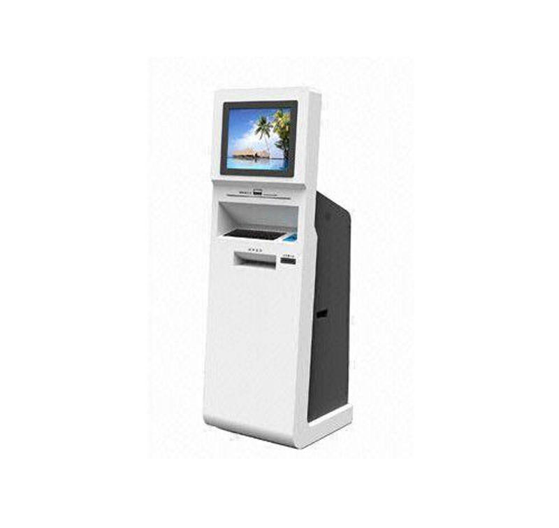 Touchscreen kiosk for bill acceptor paymentticketing dispenser function with scanner blue enclosure