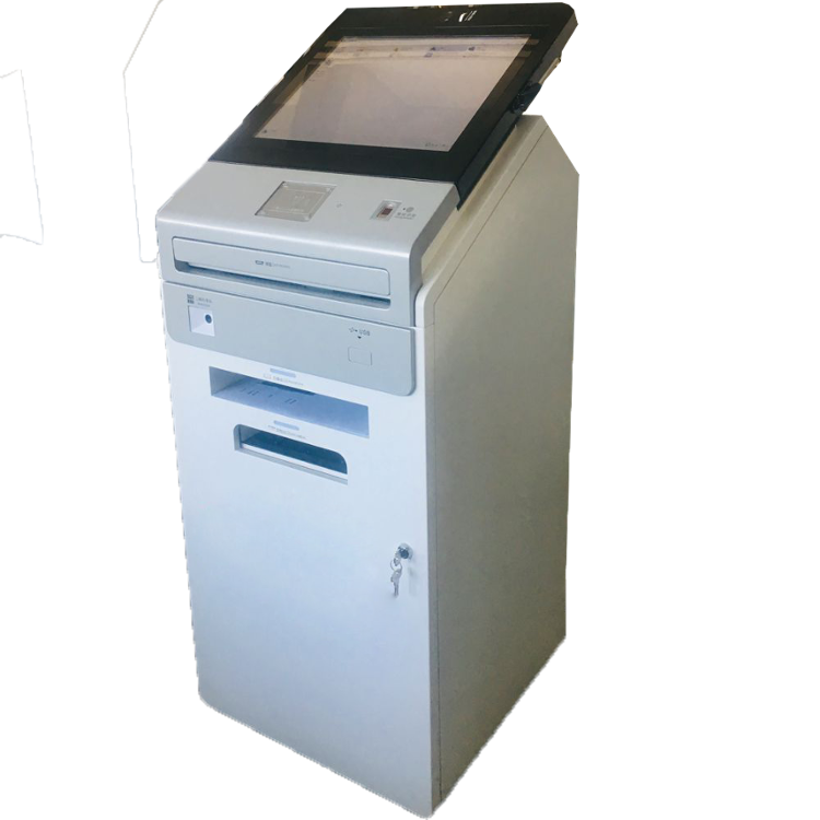 China touch screen payment kiosk with barcode scanner and keyboard
