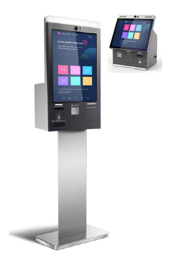 standing touchscreen SIM card dispensing kiosk for telecommunication store mobile phone store