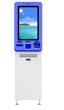 digital signage interactive hotel check in check out kiosk with card writing reading
