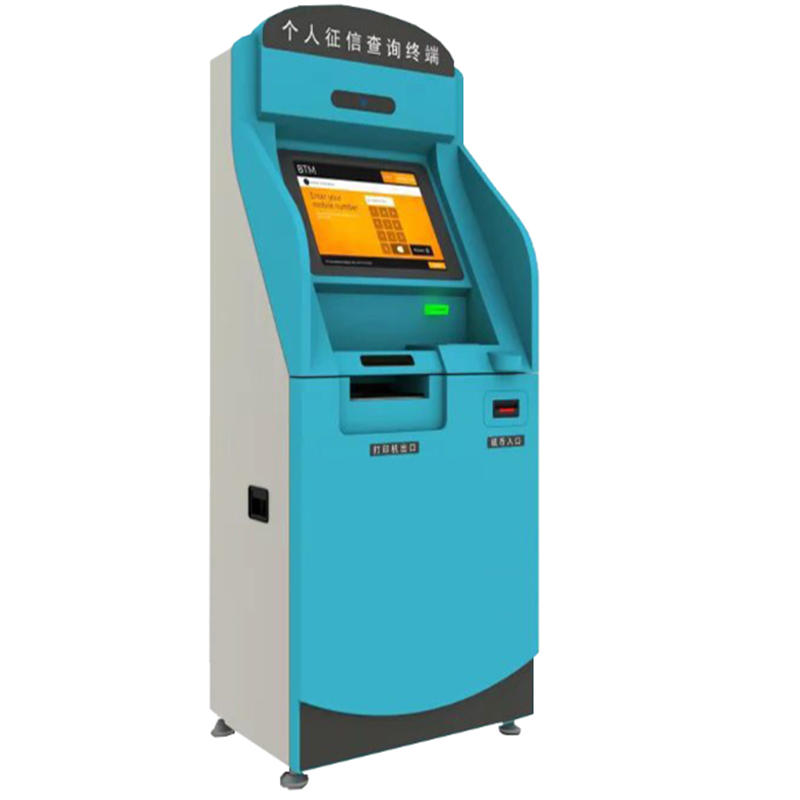 smart whole process tax system kiosk with 19'' touch screen and movable caster