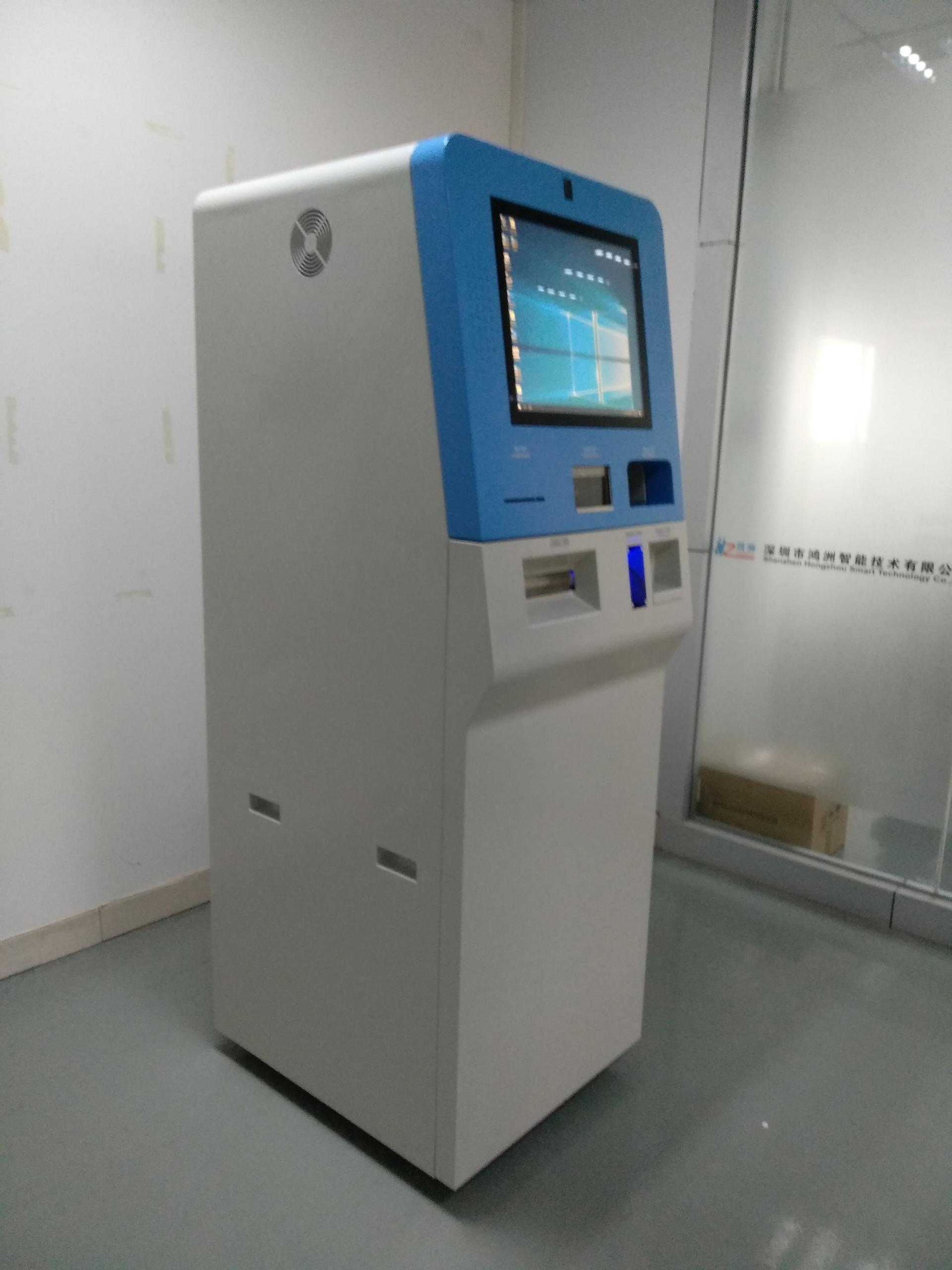 elegant foreign currency exchange kiosk with coin accepting cash aceepting