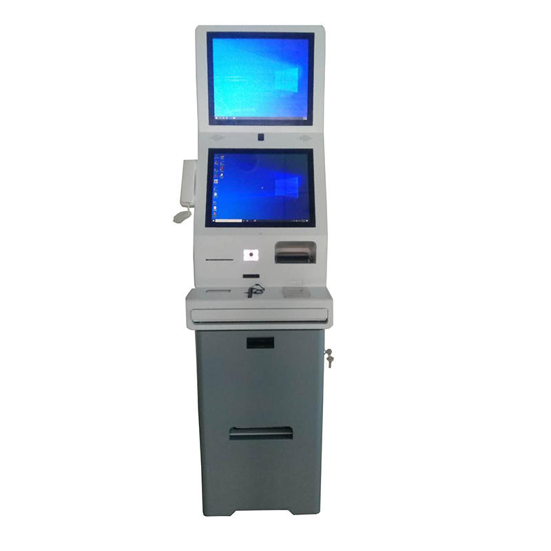 dual screen digital signage hotel kiosk with quick checkin checkout