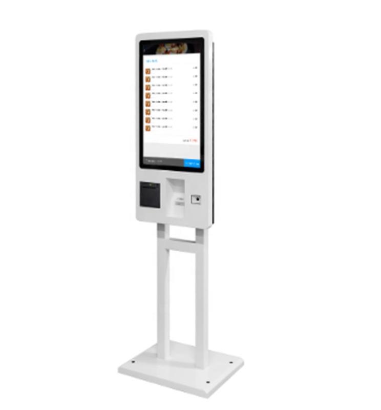 standing smart 21.5 digital signage self service menu order kiosk with QR code scanner shenzhen factory