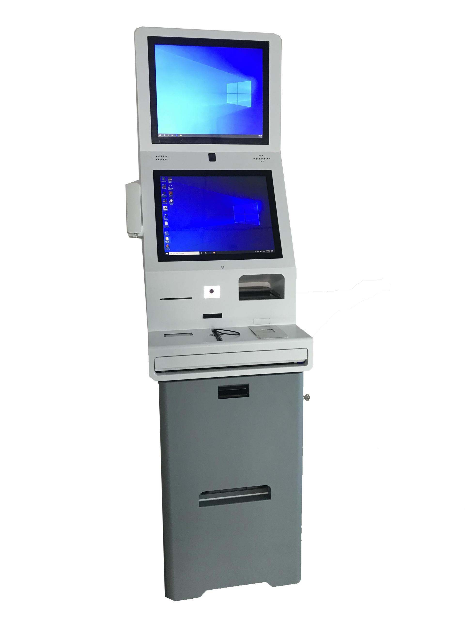 19 Inch Ticket Printer Kiosk Touch Screen Check in Kiosk Barcode Scanner