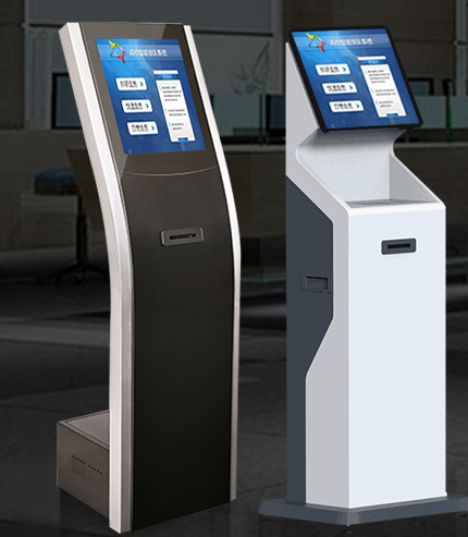 dual screen self help pay fee kiosk with 19'' touch screen and movable caster