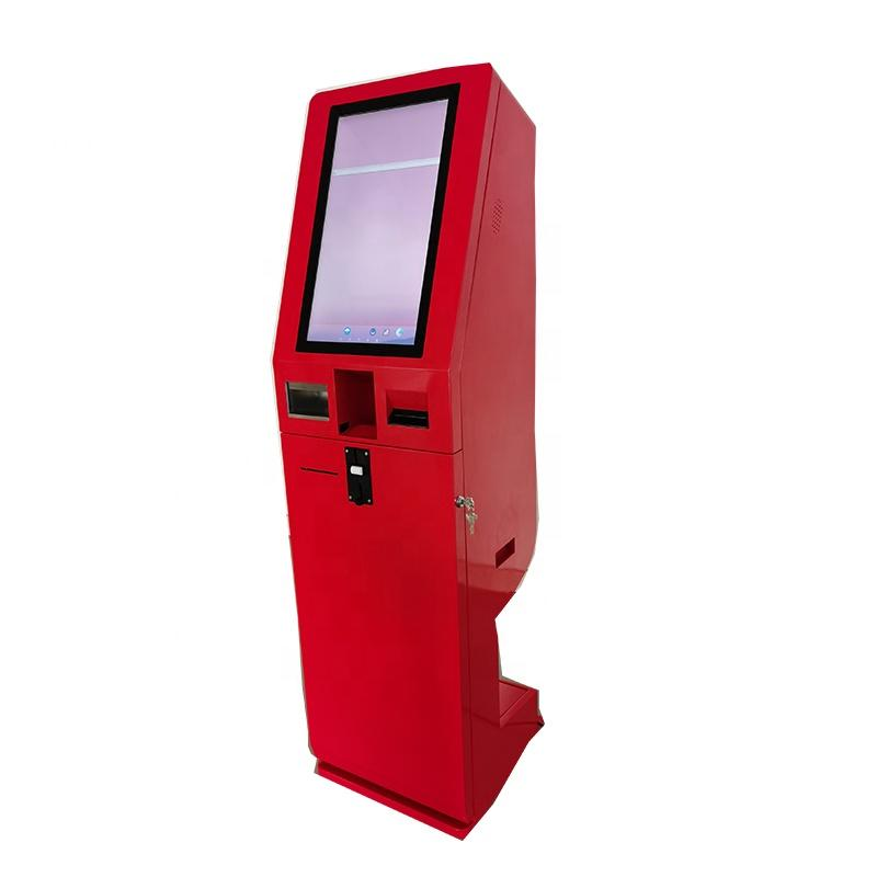 Self order kiosk in restaurant with cash and coin accept andrecycler function