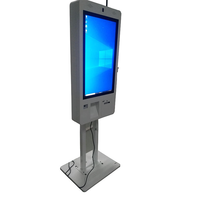 restaurant kiosk with QR code scanner printing tailormade touchscreen digital signage solution