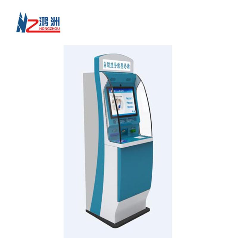 ODM floor standing capacitive self order kiosk in restaurantwith cash dispenser function