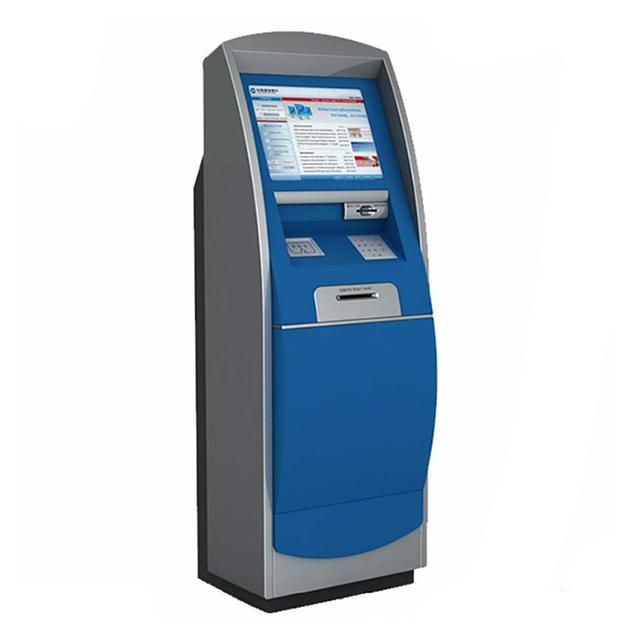 21.5inch self-service kiosk touchscreen hotel check in kiosk with card dispenser
