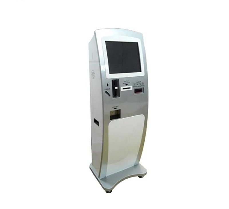 Hotel check in self service kiosk for ordering with thermal printer and camera parts