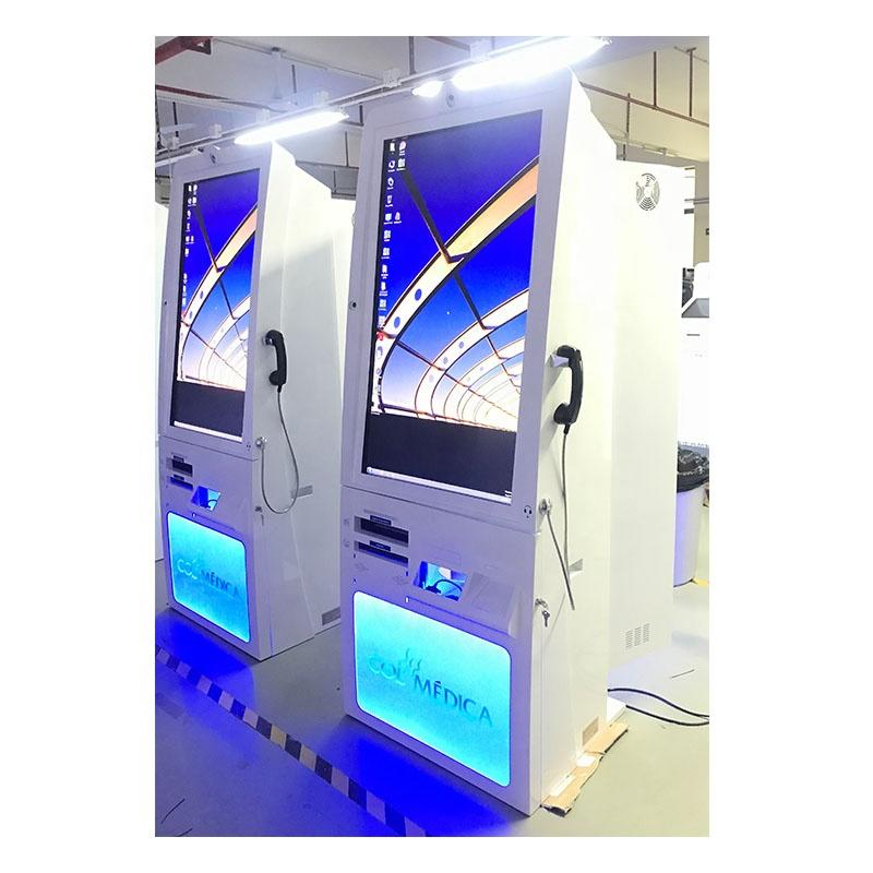 46 inch free standing kiosk document and barcode scanner telephone with Windows system in hospital