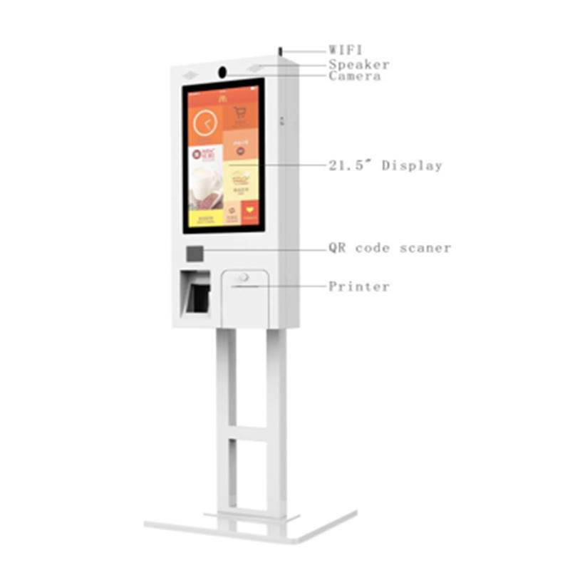 upright smart 21.5 digital signage self service menu order kiosk with QR code scanner 16 yeas professional experiences