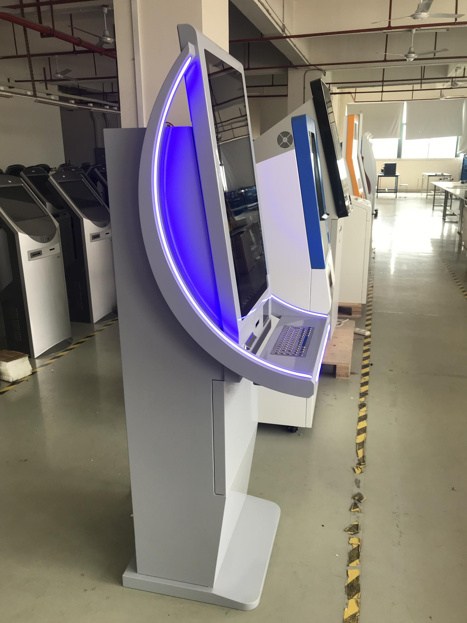 Self-service interactive touch screen foreign currency exchange kiosk