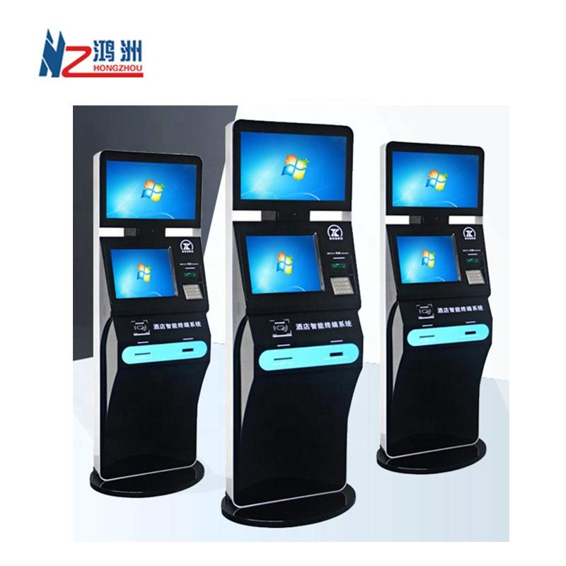 Custom LED touch screen kiosk with ticket dispenser in hotel with currency exchange function