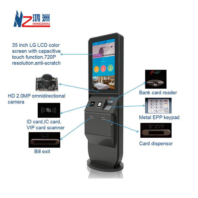 Factory Price Hotel Check in Kiosk With Card DIspenser and Thermal Printer