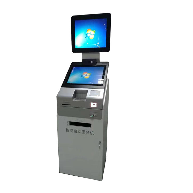 digital signage self service hopspital kiosk terminal with social security card and bank card