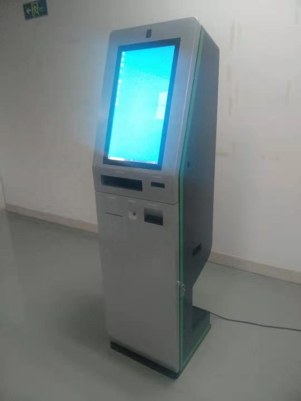standing elegant digital signage hotel kiosk with cash accepting