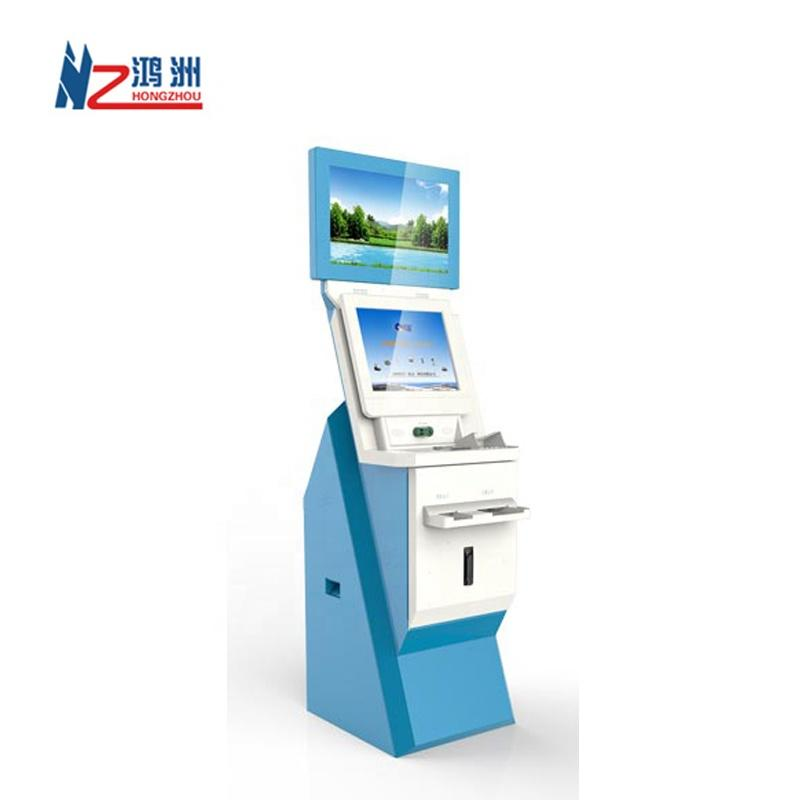 Dual Screen Hotel Check in Kiosk With Cash Acceptor and Barcode Scanner