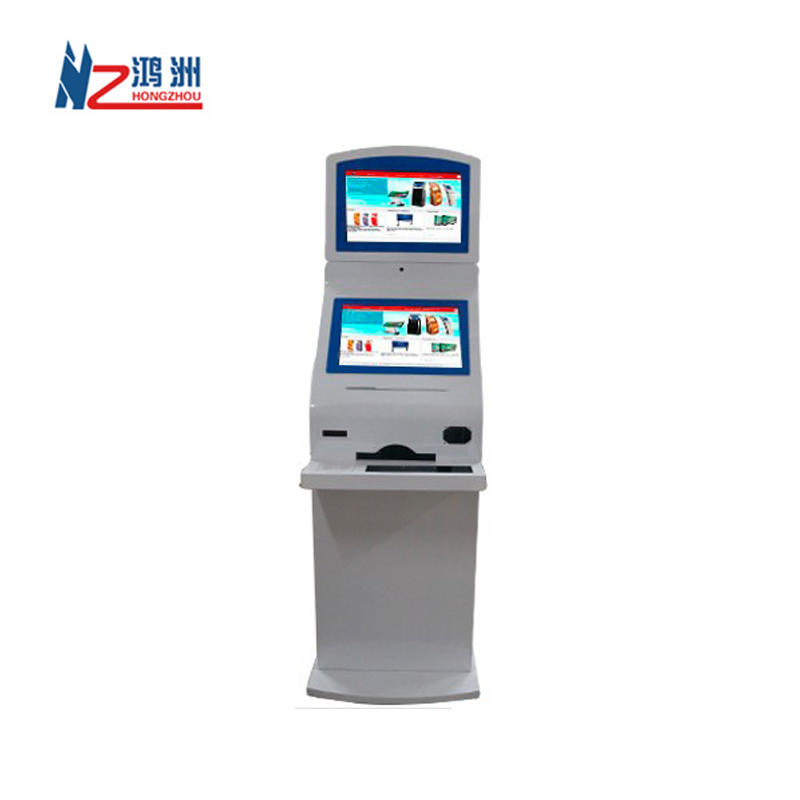Dual screen self service registration kiosk with sheet metal shell