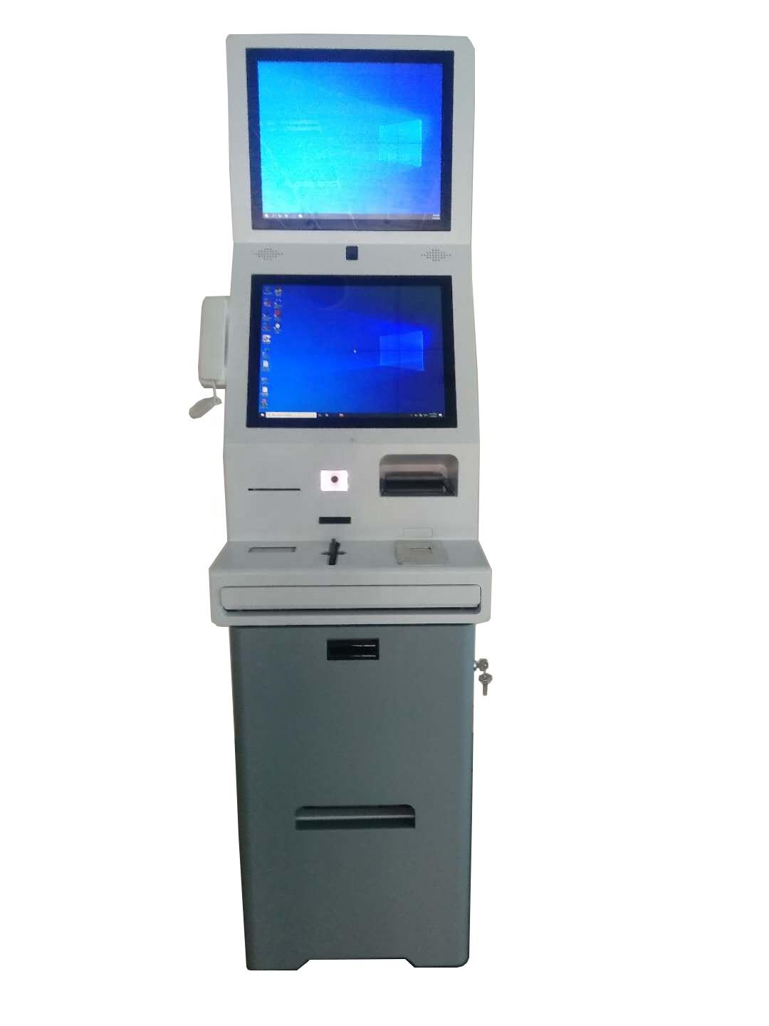 multifunction hotel digital signage kiosk with 19 inch dual screen