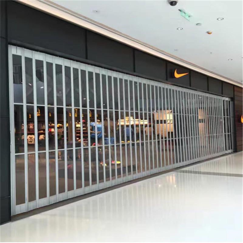 Folding door polycarbonate aluminum frame with transparent PC slat sliding door