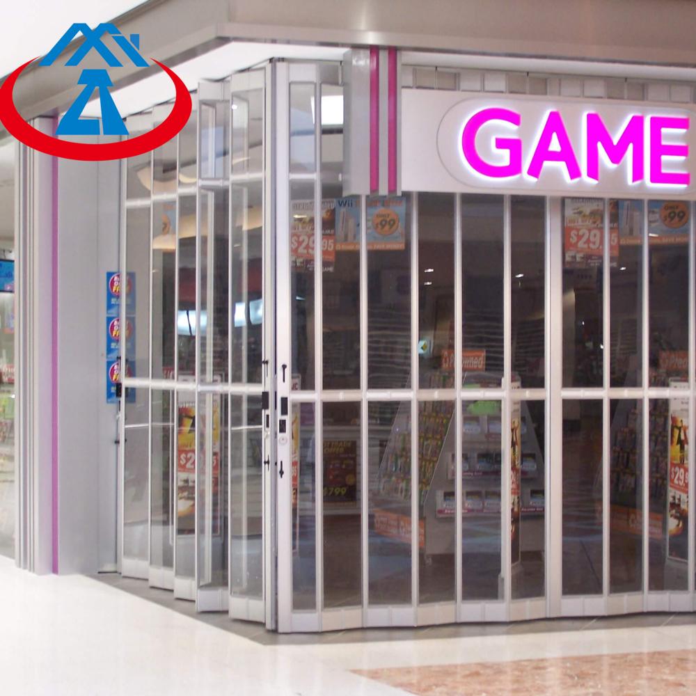 Polycarbonate Transparent Folding Door for Commercial Store PC Security Sliding Door Automatic
