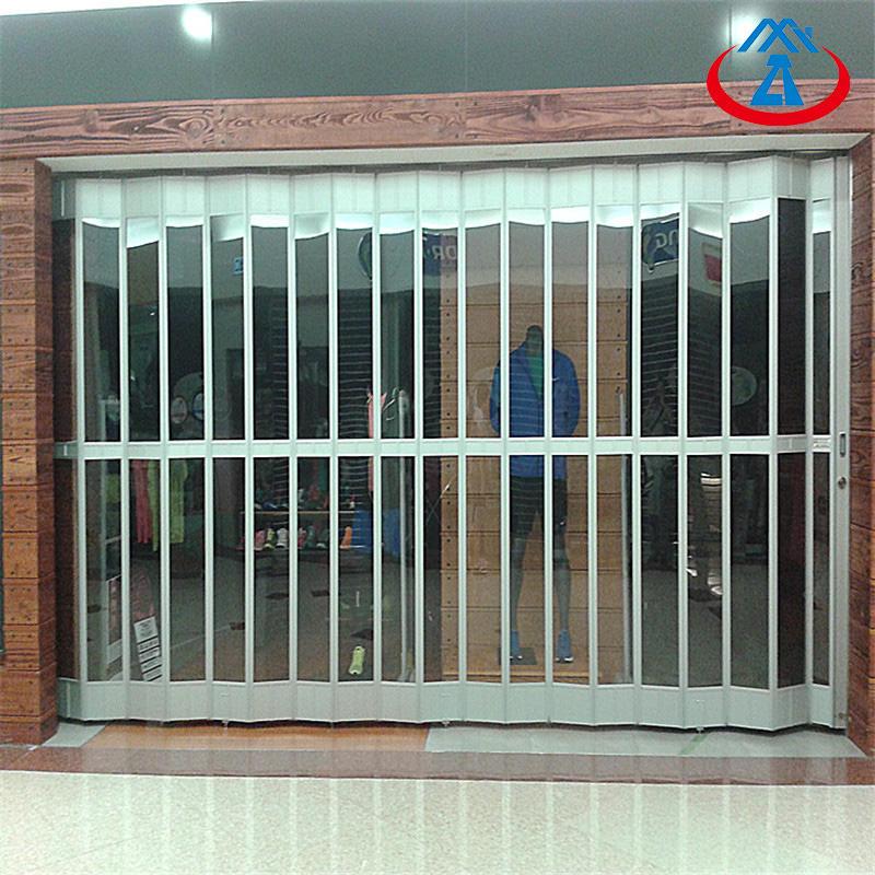 Elegant Transparent PC Aluminium Curved Vertical Plastic Folding Door