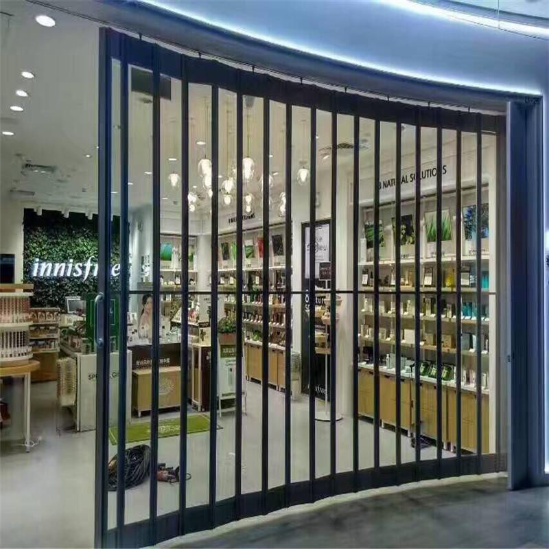 12*7 feet 300mm slat width polycarbonate folding door polycarbonate sliding door for mall