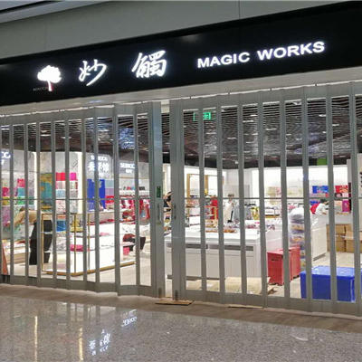 Commercial transparent sliding folding polycarbonate door for shop