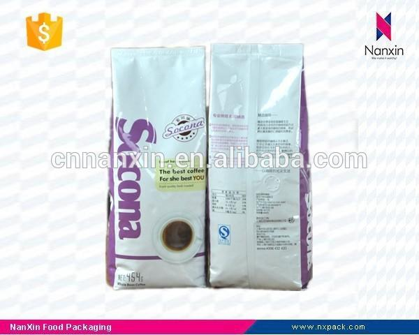 resealable foil lined coffee packaging bag with valve