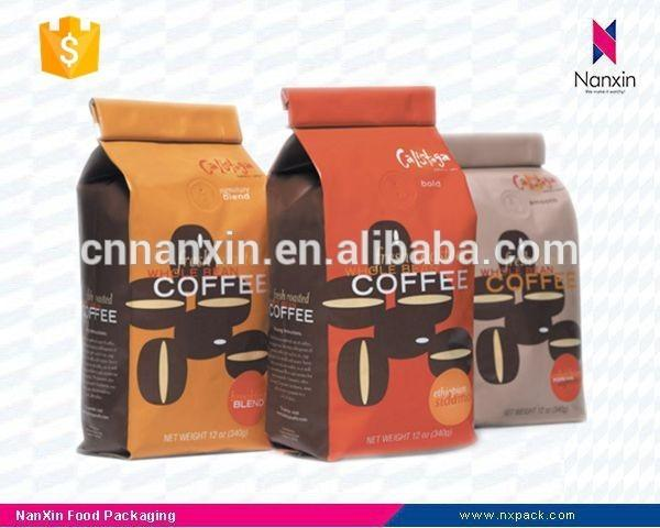 coffee bean packaging bag side gusset bag with flat bottom