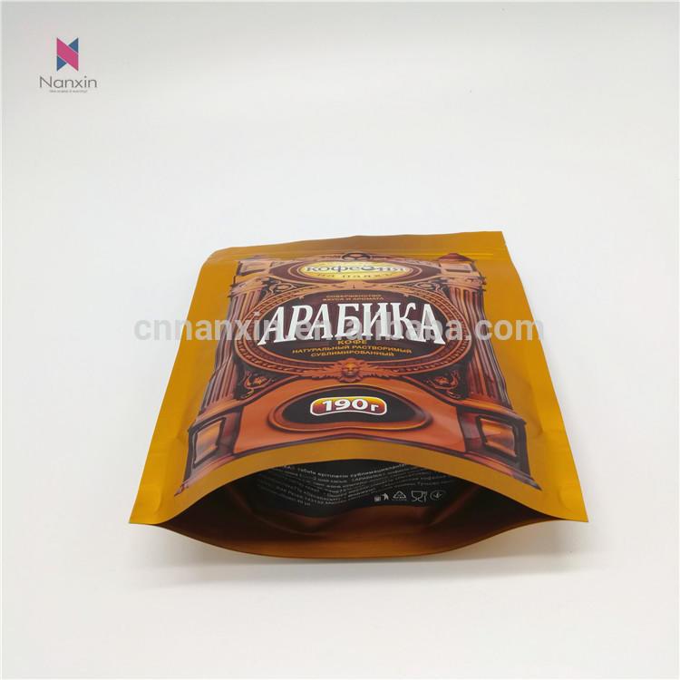 aluminum foilzipper lock stand up pouch coffee packaging bag