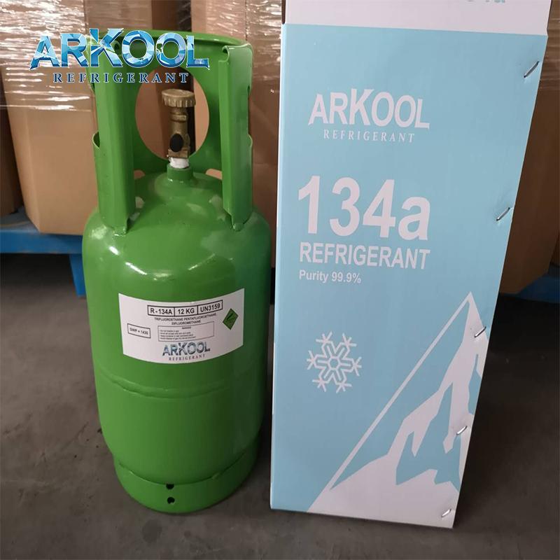 Refrigerant refilling R134a gaz 134 gas cylinder