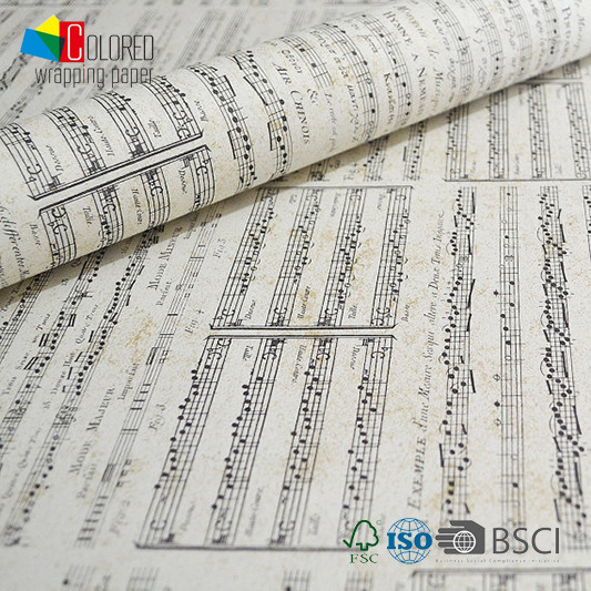 Music Note Music Score Printing Gift Wrapping Paper OEM