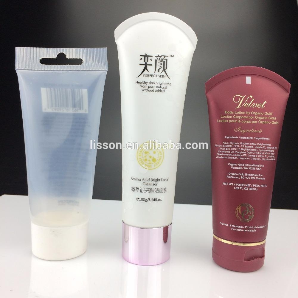 60ml clear cosmetic plastic packing transparent tube for BB cream with fan tail