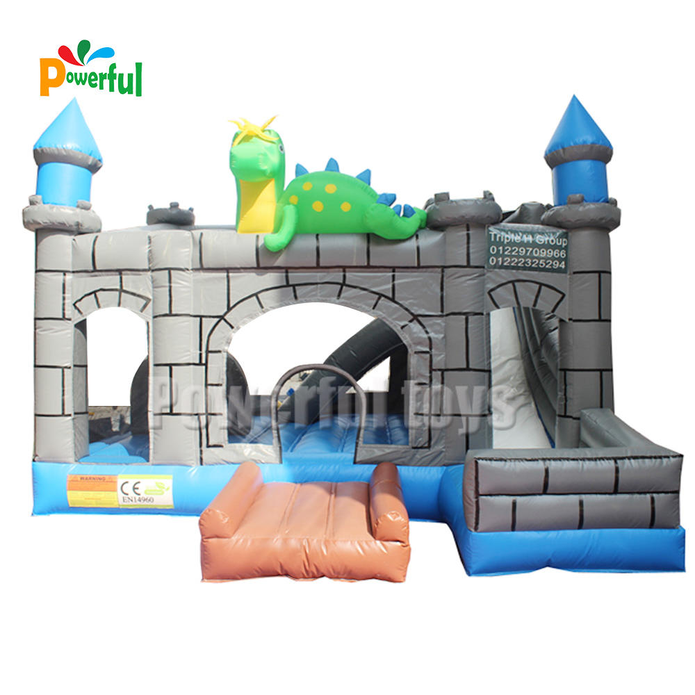 Small inflatable jumping bouncer castle with slide for kid