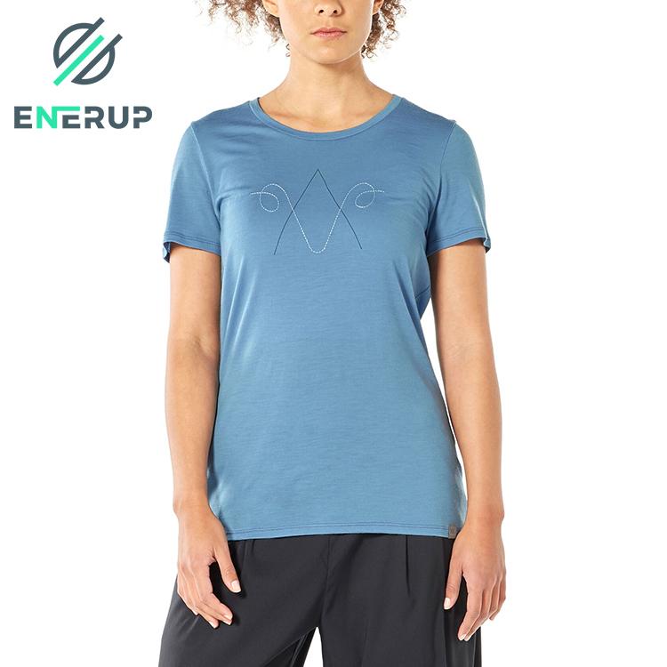 Enerup Custom Oem/Odm Merino Wool Womens Short Sleeves Cotton T Shirt Basic Top Tees Blank Crew Neck Streetwear Short Sleeve