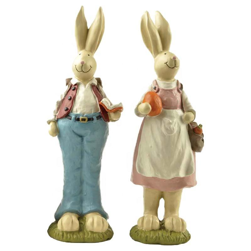 Stock Products Resin Bunny/ Rabbit Couple w/Book & Bag For Garden Decoration