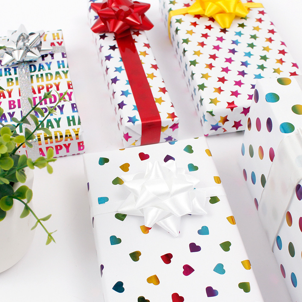 Birthday Colorful Hot Stamping Dot and Loving heart and StarWhite BackgroundGift Wrapping Paper