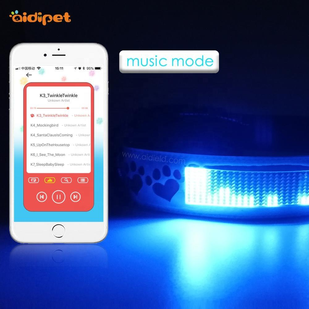 New Latest APP Controlled Bluetooth Dog Collar Type Words Collar Remote Controlled Flashing High Capacity Dog Collar