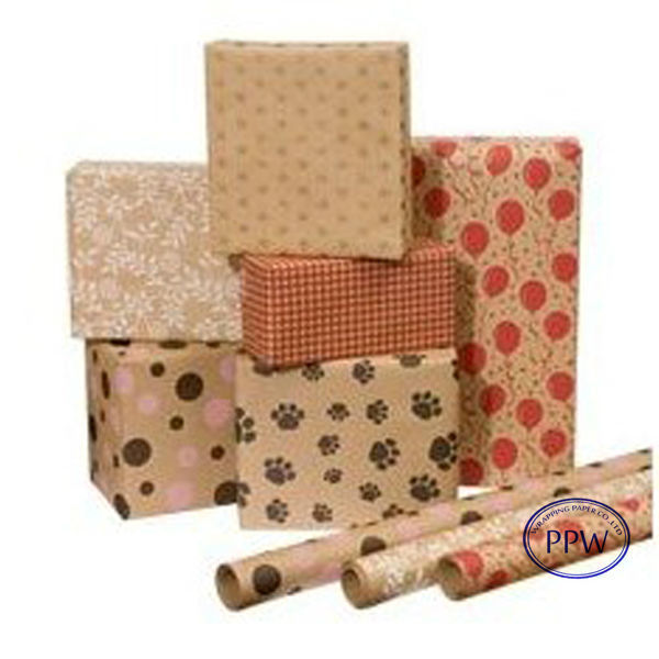 Christmas Design Printed Kraft Paper Gift Wrapping Paper Roll